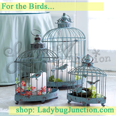 Oblong Birdcage Lanterns Set of 3