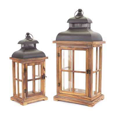 Classic Modern Wood and Metal Lantern Set of 2 15.5in and 22.63in Tall