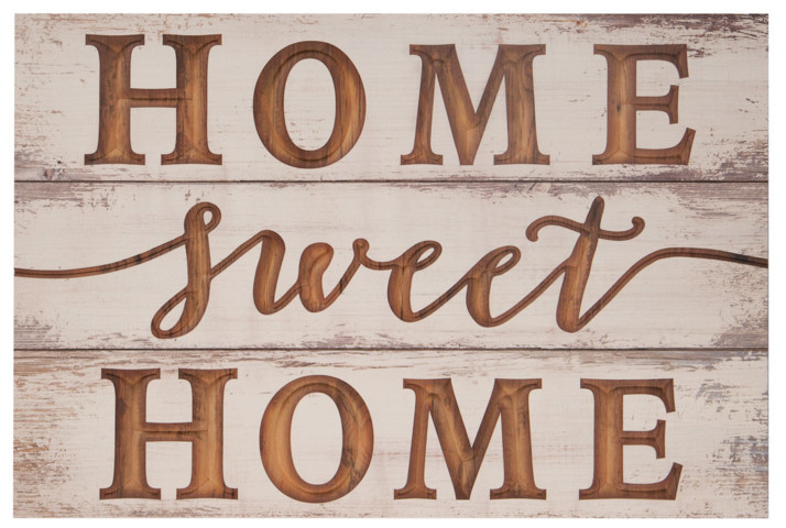 Home Sweet Home Carved Sign Farmhouse Whitewash 16X24In