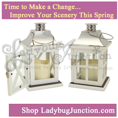 Lantern with 3in x3in LED candle Set of 2