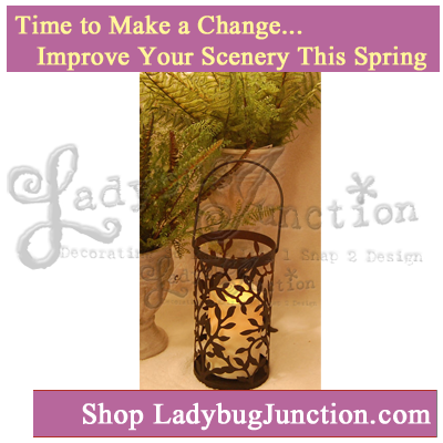 Vine Pattern Lantern with 3in x4.5in LED Candle