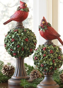 Mistletoe Topiary Finial with Cardinal Set of 2