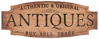 Antiques Vintage Modeled Wall Sign 35.5X13.5In