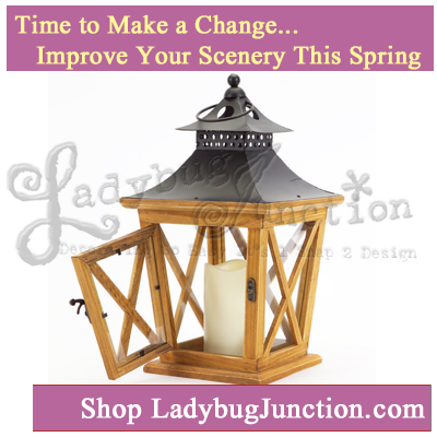 Lantern with 3in x4.5in LED Outdoor Candle