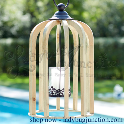 Open Lantern with Decorative Hanging Candle Holder