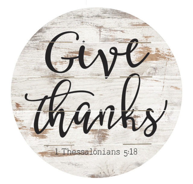 Give Thanks Sound Barrel Top Wall Decor 26X26In