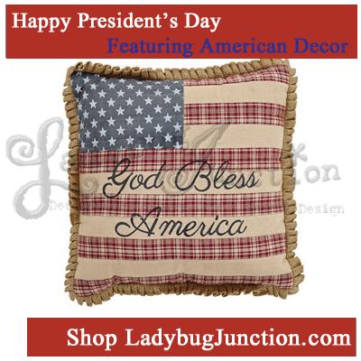 Flag Pillow w/God Bless America 12x12