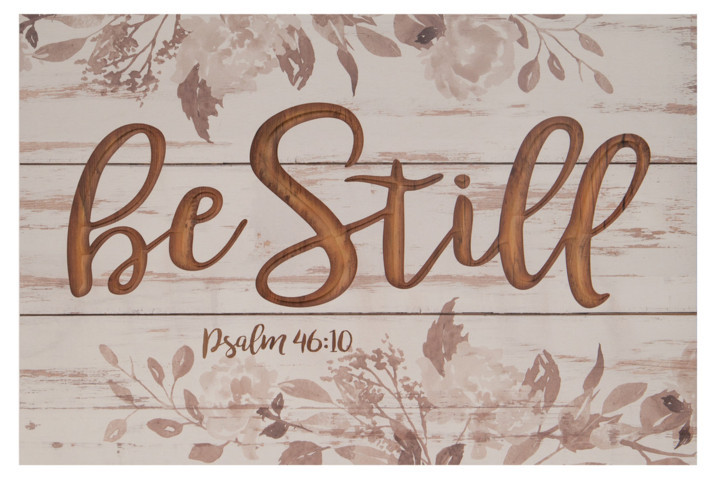 Be Still Psalm 46:10 Carved Sign Farmhouse Whitewash 16X24In