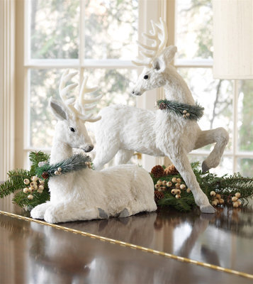 Glittered Sisal Deer Set of 2