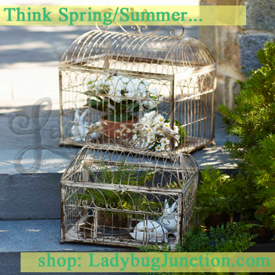Rustic Wire Birdcage Set of 2