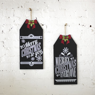 Chalkboard Christmas Signs with Bow Set of 2