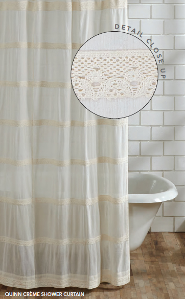 Quinn Creme Shower Curtain 72x72