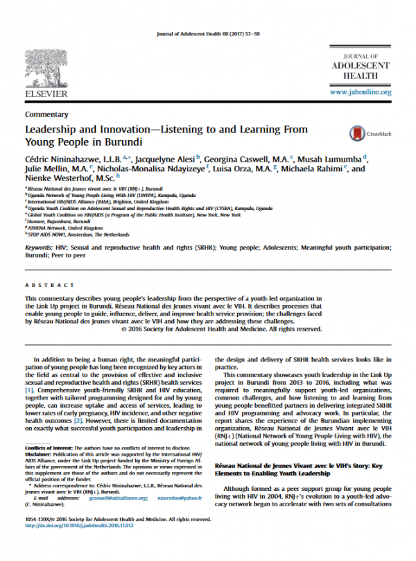 Leadership & Innovation—Listening to and Learning From Young People in Burundi
