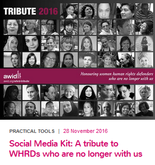 AWID's 5th Online Tribute to Women Human Rights Defenders