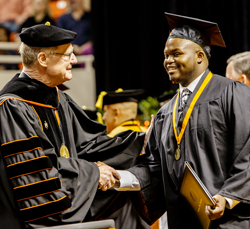 President Hargis and Student