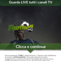 ITALY TV.me Calcio PAYOUT: 4.50 to 7 € OFFER TYPE: CPA