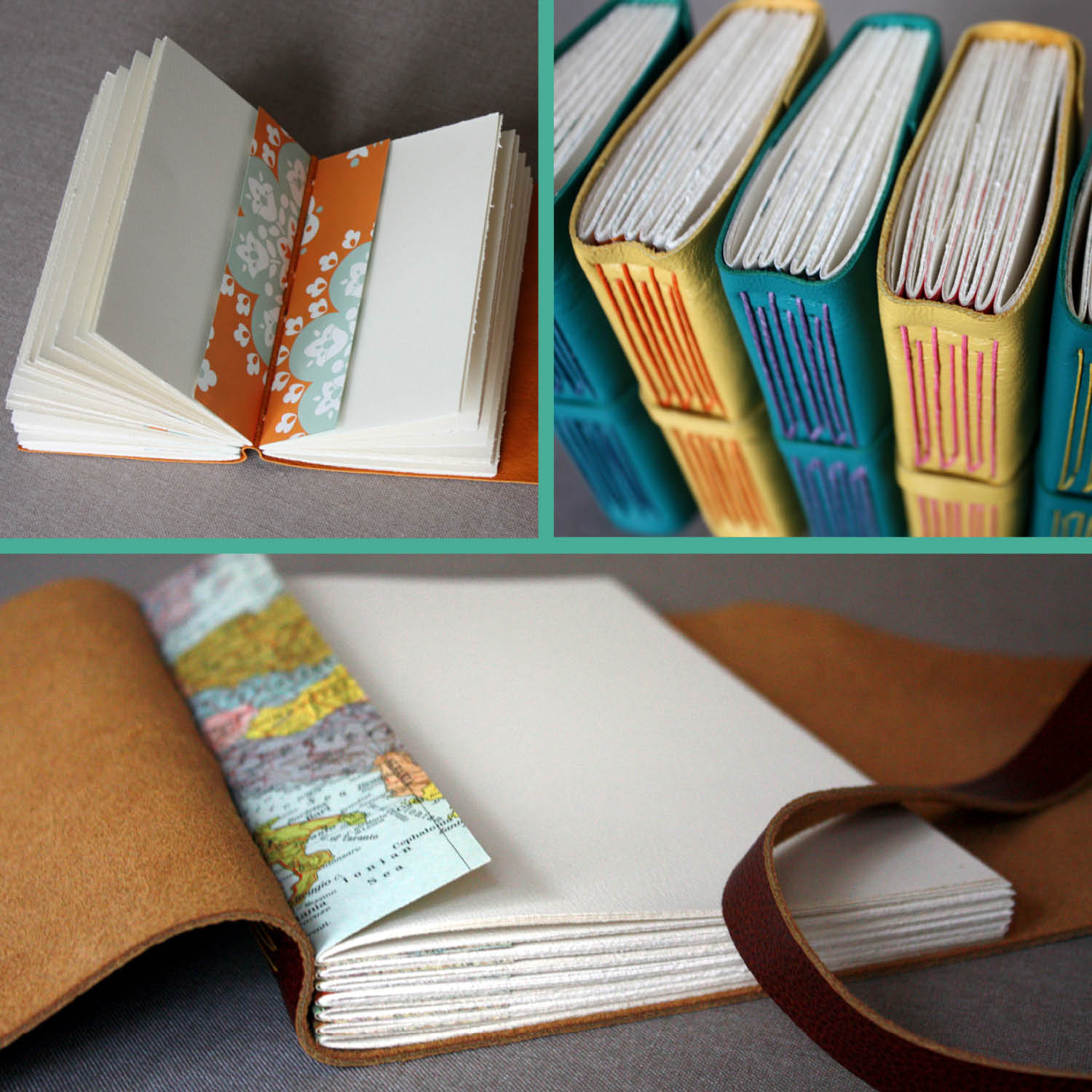 Leather journals, Italian Long Stitch