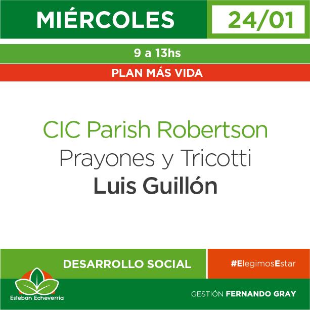 Miércoles 24/01 - Plan Más Vida - CIC Parish Robertson - Luis Guillón