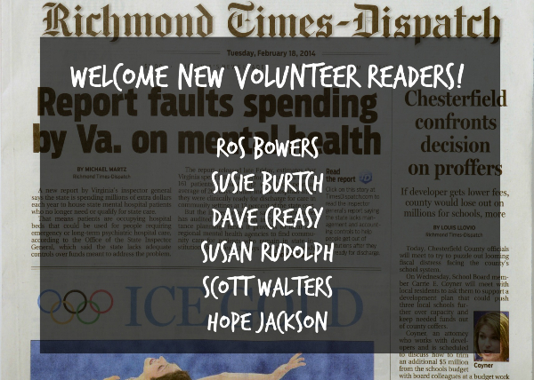 Welcome New Volunteers, Ros Bowers, Susie Burtch, Dave Creasy, Susan Rudolph, Scott Walters,  and Hope Jackson