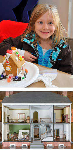 Girl in Gingerbread House Workshop and Kenmore Dollhouse