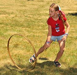 Girl playing with hoop