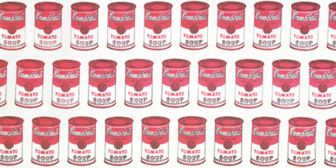 Andy Warhol 'Soup Can' dress fabric, part of The Victoria & Albert Museum's 'Pop Art in Print' at RAMM as part of Art Week Exeter