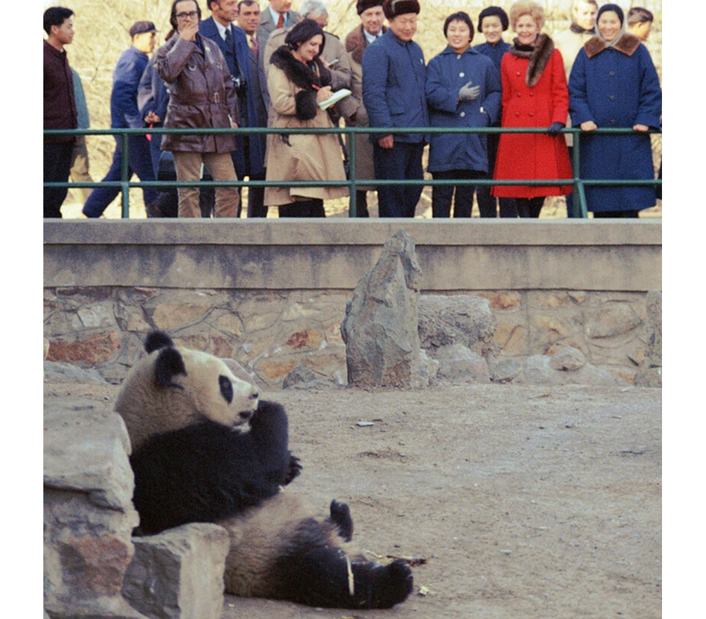 First Lady Pat Nixon welcoming the pandas at the National Zoo.