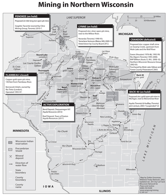 Wisconsin mining sites map