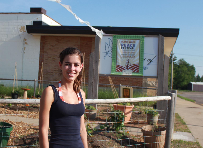 Summer intern Gloria Grogger of Austria, at Many Ways of Peace gardens
