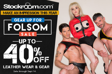 Gear Up for Folsom Sale! Get 40% OFF Leather Wear and Gear at www.Stockroom.com!