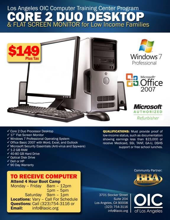 Desktop Computer for Low-Income Families