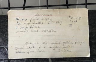 Hand written recipe card