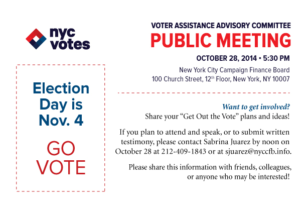 Voter Assistance Advisory Committee - Public Meeting - October 28, 2014