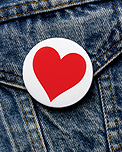 Heart on denim	jacket