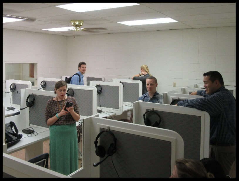 Some missionaries waiting for Phonetic Lab to begin.