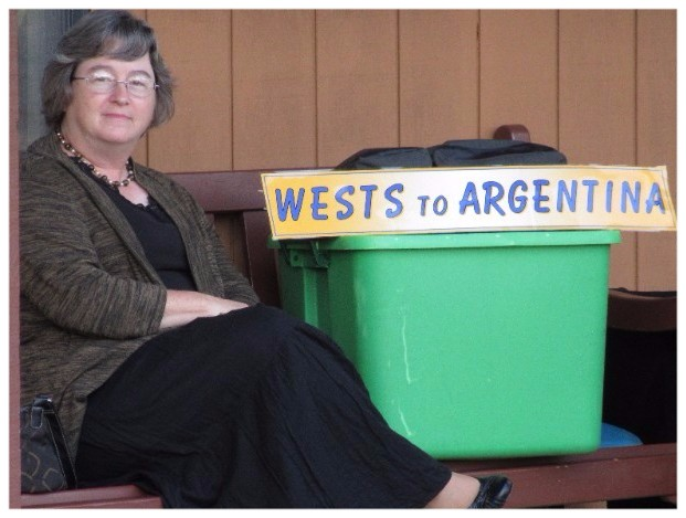 Patti with Wests to Argentina sign