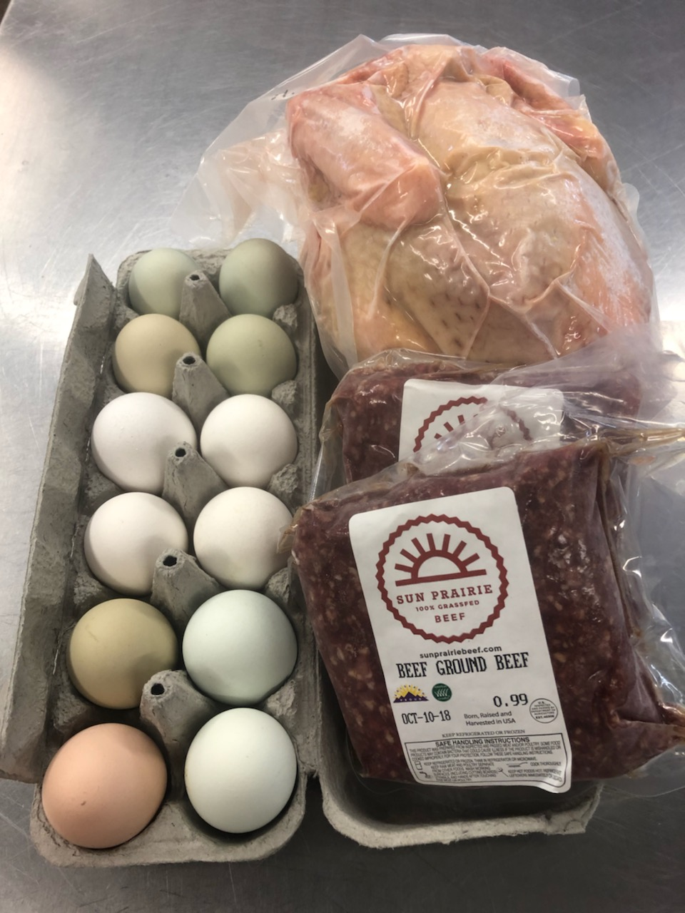 Protein Share - Beef (2 pounds ground), Chicken (3-4 pounds whole) & Eggs (1 dozen)