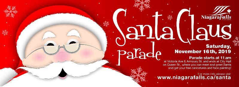 Santa Claus Parade, Saturday November 16, 2019, 11am, Downtown Niagara Falls