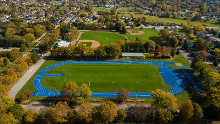 Aerial view of Oakes Park on a sunny day