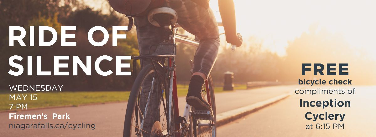Ride of Silence: May 15 7 PM Firemen's Park. Free bicycle check compliments of Inception Cyclery at 6:15 PM.
