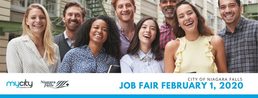 Career men and woman, smiling. City of Niagara Falls Job Fair February 1, 2020