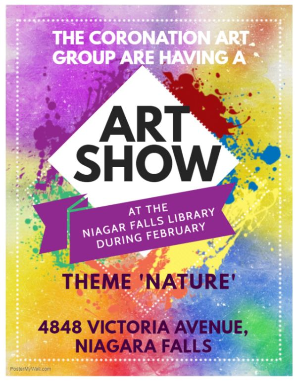 Poster: Art Show at the Niagara Falls Library (February) at 4848 Victoria Avenue