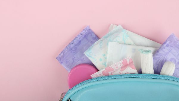 variety of menstrual products in a bag