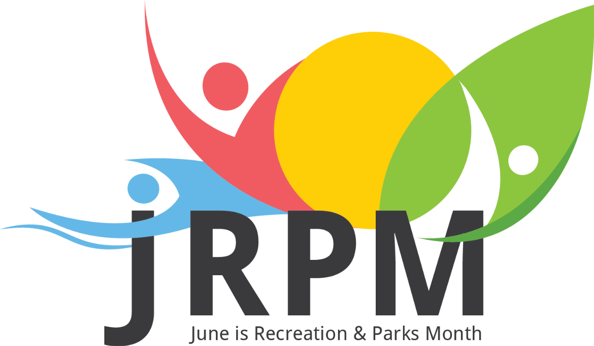 Logo June is Recreation and Parks Month (Symbol abstract figures in primary colours)