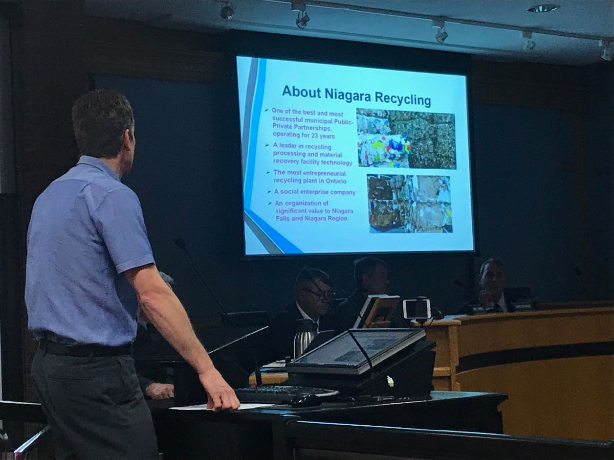 Norman Kraft delivers a presentation on Niagara Recycling