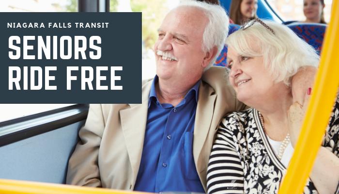 Niagara Falls Transit - Seniors Ride Free- Senior couple riding on the bus