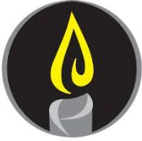 National Mourning Day symbol: a grey candle with a yellow flame