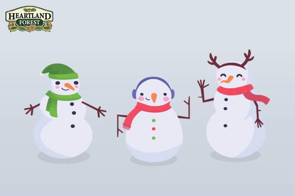 Cartoon illustration: three snowmen and the Heartland forest logo