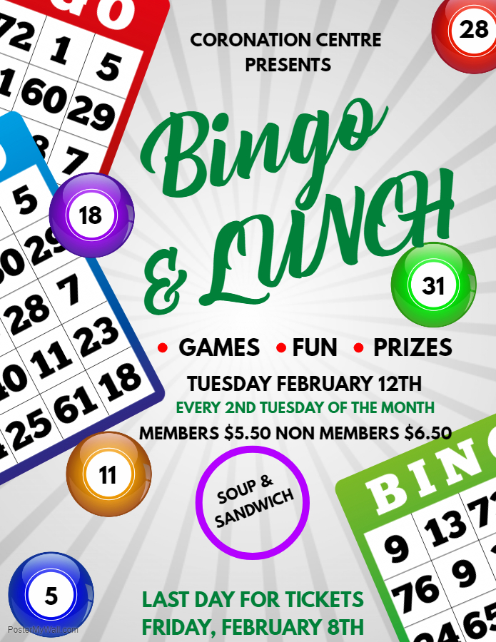 Bingo and Lunch: February 12 (buy tickets until February 8). Serving soup and a sandwich.