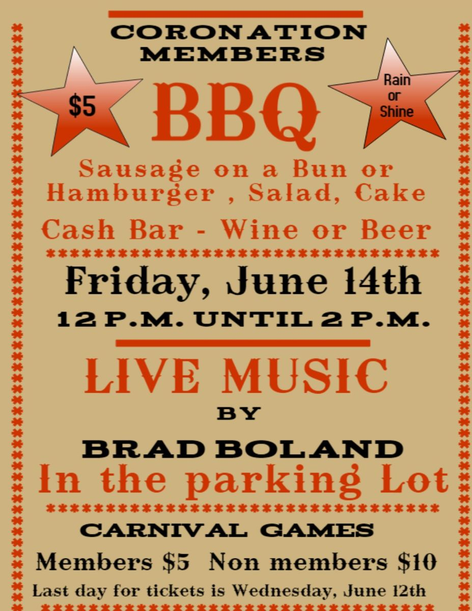 Members BBQ. Friday June 14th.